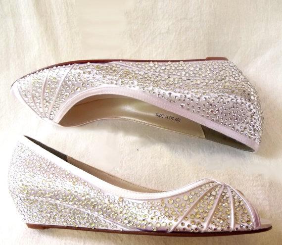 Mariage - Wedding shoes-  wedge bling rhinestones crystals low heel bridal accessory
