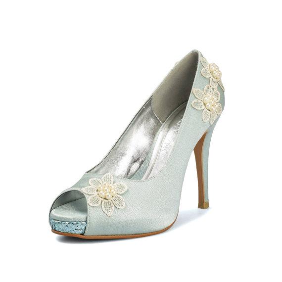 Mariage - Something Blue Daisy Wedding Shoe, Floral Lace Bridal Heel, Blue Glitter Bridal Shoe, Daisy Lace Wedding Shoe