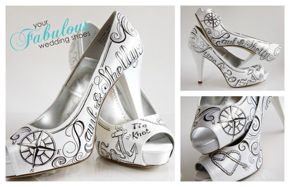 Wedding - Tie The Knot Wedding Custom Shoes, Nautical Hand Painted Wedding Shoe, Custom Hand painted High Heels