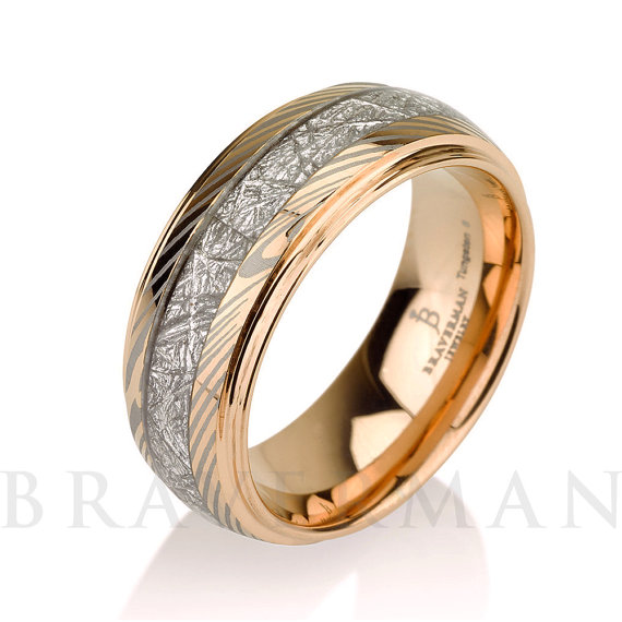 bands plated band rings jewelry tungsten meteor imitated ring carbide mens gold wedding comfort dp fit meteorite inlay