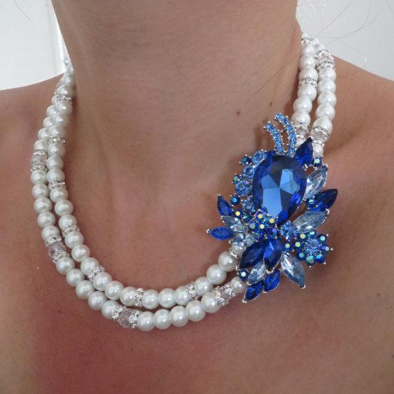 Mariage - Something Blue-Bridal Swarovski Pearls Necklace,Pearl Bridal Necklace, Bridal Jewelry,Bridal Jewelry,Bridal Necklace, Wedding Jewelry