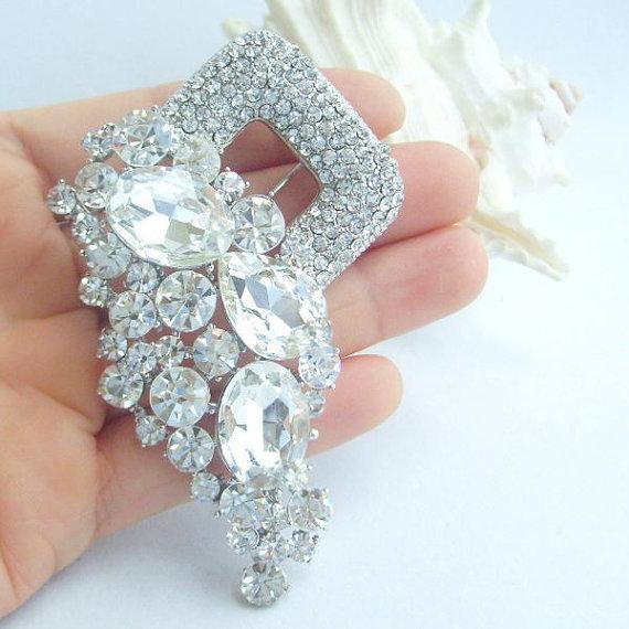 زفاف - Wedding Jewelry 3.35 Inch Silver-tone Clear Rhinestone Crystal Flower Brooch Pendant Bridal Brooch Wedding Deco BP06032C1