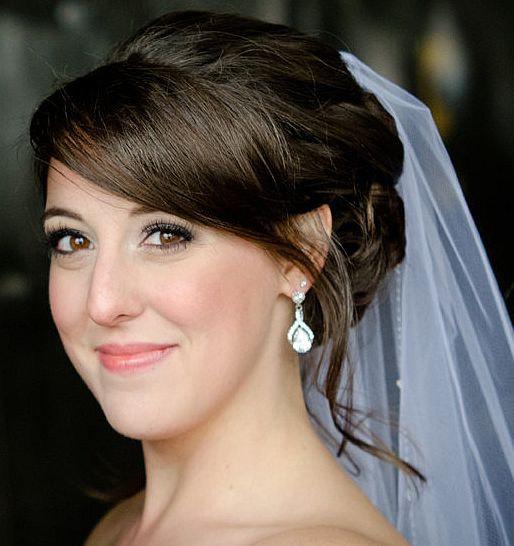 Mariage - Teardrop Bridal Earrings, Sterling Silver Posts, Infinity Jewelry, Cubic Zirconia Earrings, TIA