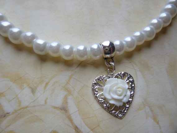 Pearl Flower Girl Necklace Pearl Flower Girl Jewelry Flower Girl