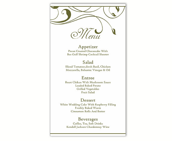 Wedding - Wedding Menu Template DIY Menu Card Template Editable Text Word File Instant Download Green Menu Leaf Menu Template Printable Menu 4x7inch