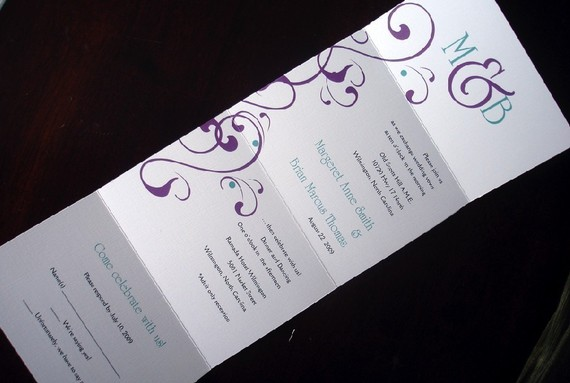 Elegant Monogram Wedding Invitations: Plum Turquoise Flourish Seal And Send Monogram Wedding