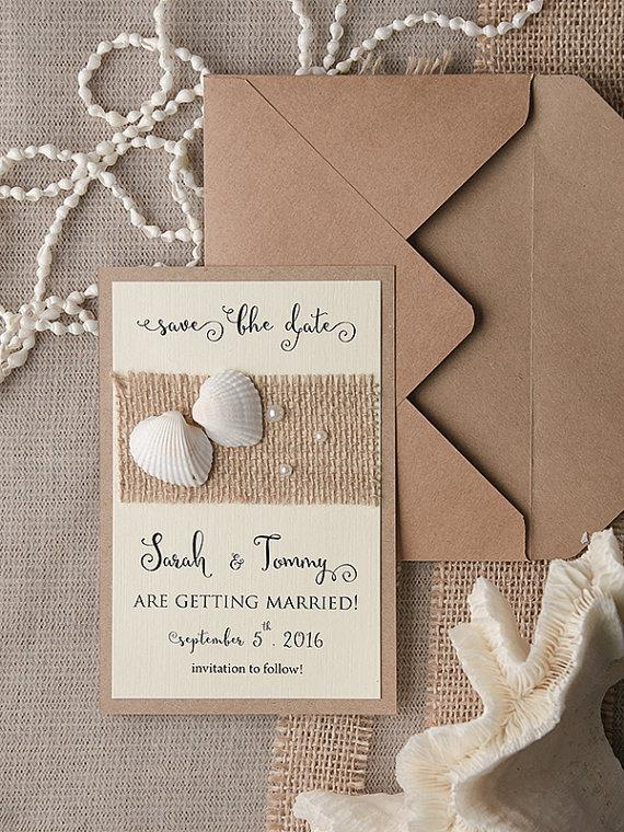 Wedding - Save The Date Card (20), Rustic Save the Date, Seashells Save the Date, Beach Save the Date, Wedding Save the Date, Model no: 04/bea/std