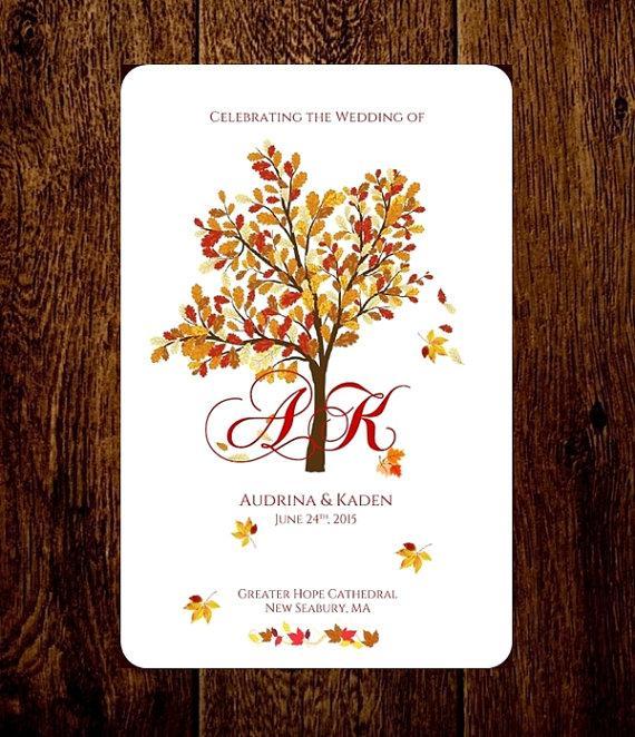 AUTUMN Wedding Program Folded Fall Printable INSTANT DOWNLOAD Diy