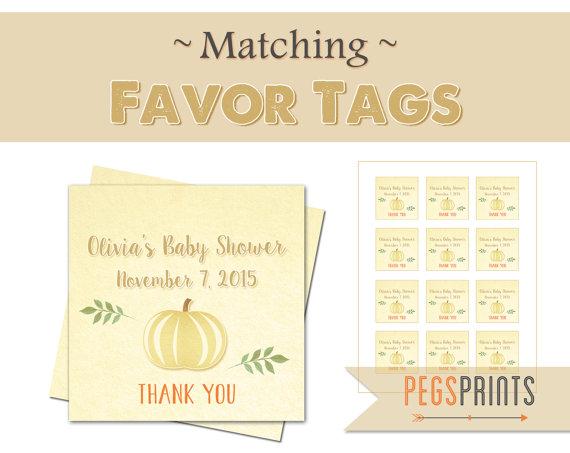 Pumpkin Favor Tags Printable Favor Tags Baby Shower Lil