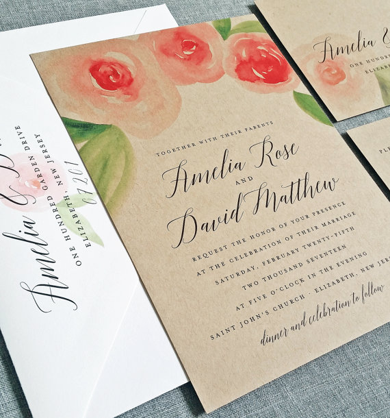 Mariage - NEW Amelia Kraft Watercolor Rose Floral Wedding Invitation Sample - Beautiful Script, Pink and Red Watercolour Flowers