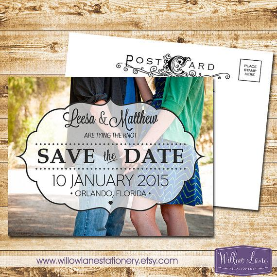 Mariage - Custom Photo Save the Date Postcard - Whimsical Vintage Save Our Date Card Template Wedding DIY - 4023 PRINTABLE