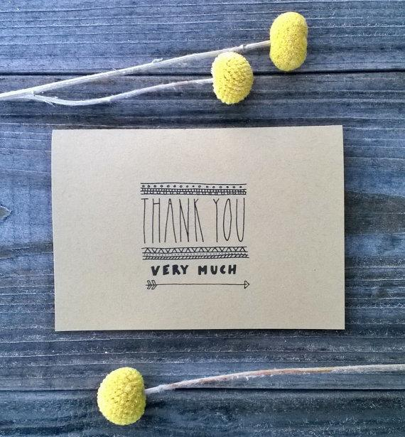 Mariage - Thank You Very Much 10 Pack of Thank You Cards, Rustic Thank You Card Set, Wedding Thank You Cards