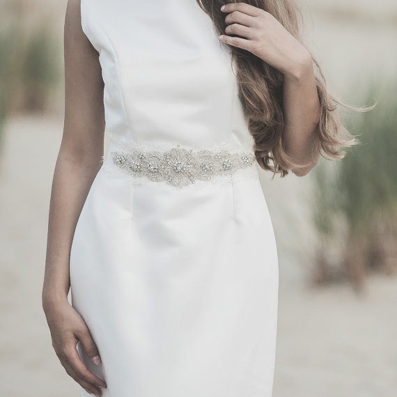 Hochzeit - Ivory lace sash, wedding crystal sash, swarovski beaded couture bridal belt, dress accessory