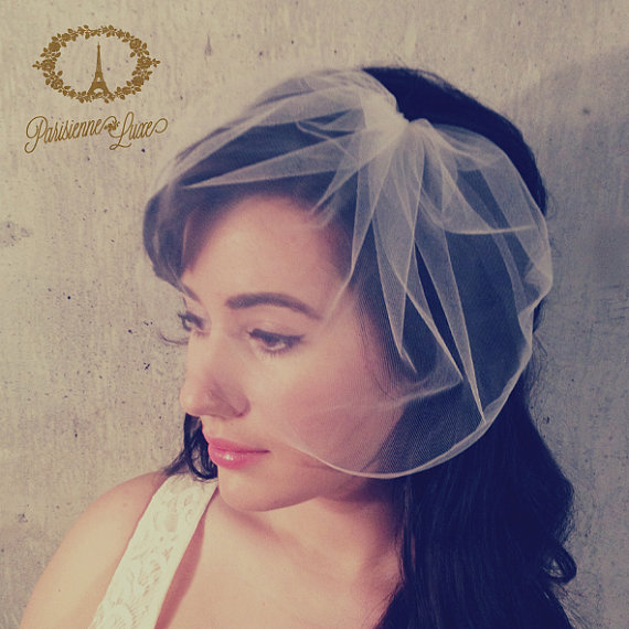زفاف - MARIE MEDIUM - birdcage veil, bird cage veil, blusher veil, tulle bridal birdcage veil, tulle veil, small blusher, small tulle birdcage veil