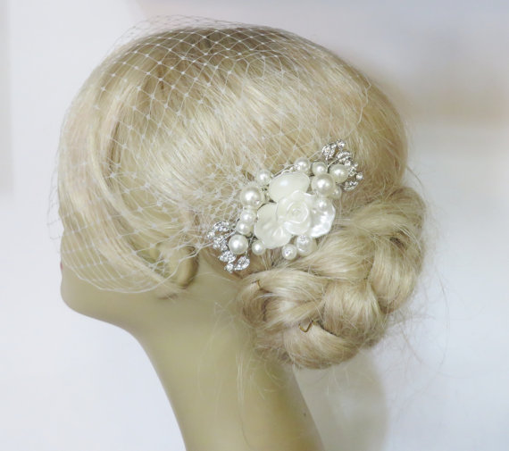 Mariage - Birdcage Veil and a Bridal Pearls Hair Comb (2 Items),bridal veil, Rhinestone Bridal Hair Pearls Comb Weddings veil Silver Blusher Birdcage