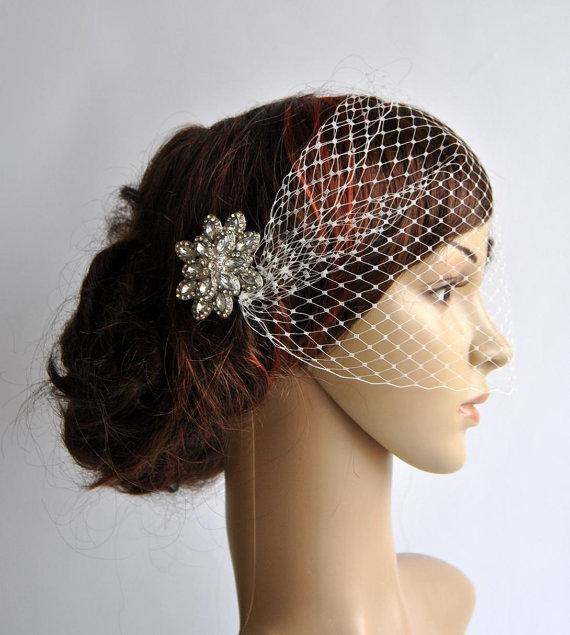 Hochzeit - Bandeau Veil with rhinestonecomb, Birdcage Veil, Wedding Veil, Bridal Veil, Russian Veil, Bird Cage Veil with rhinestone comb, bridal comb