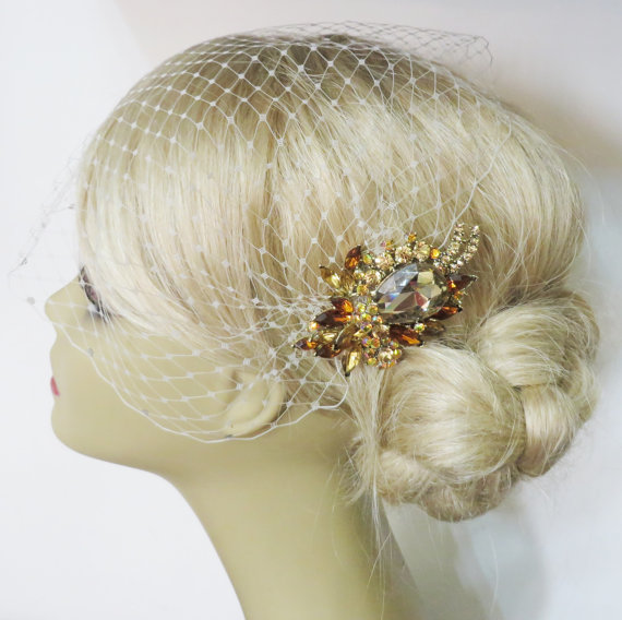 Mariage - Champagne - Birdcage Veil  and a Bridal Hair Comb (2 Items) Topaz  Rhinestone Bridal Hair Comb Bridal Jewelry