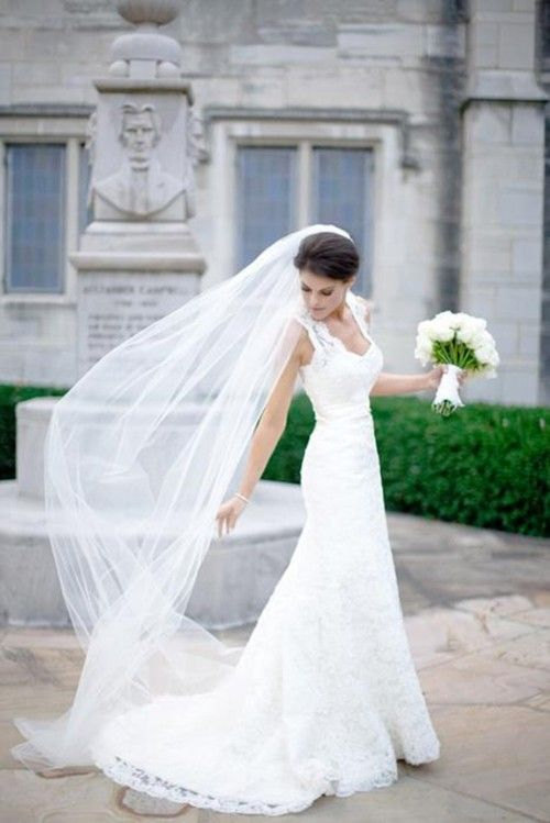 Mariage - Plain One Tier Chapel Length Tulle Veil With Raw Edge