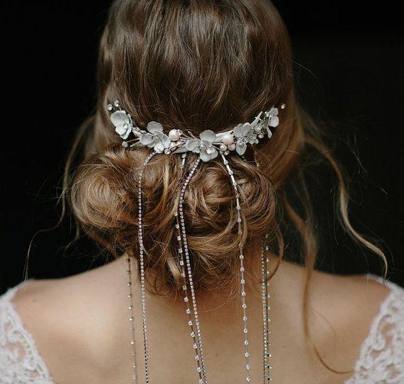 Mariage - Wedding Rhinestone Chain Veil, Decorative Comb - Falling Stars No. 2099