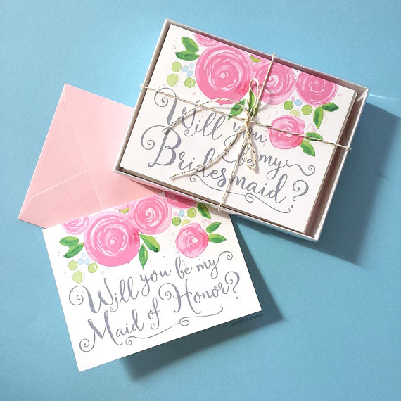 Hochzeit - Will You Be My Bridesmaid Card Set of 8, Will You Be My Bridesmaid, Bridesmaid Invitation