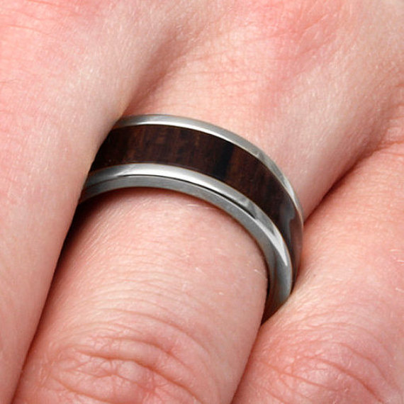 Mariage - 10k White Gold And Titanium Wedding Band With Ziricote Wood, Wood Ring, Commitment Ring
