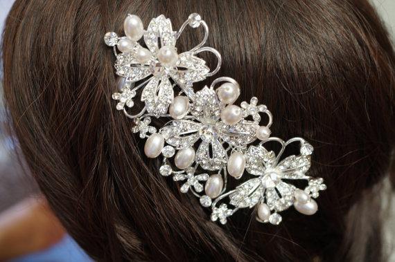 زفاف - Bridal Hair Comb, Pearl Hair Comb, Crystal Hair Comb, Wedding Hair Accessories, Vintage Inspired Bridal Hair Comb, Bridal Hair Accessories