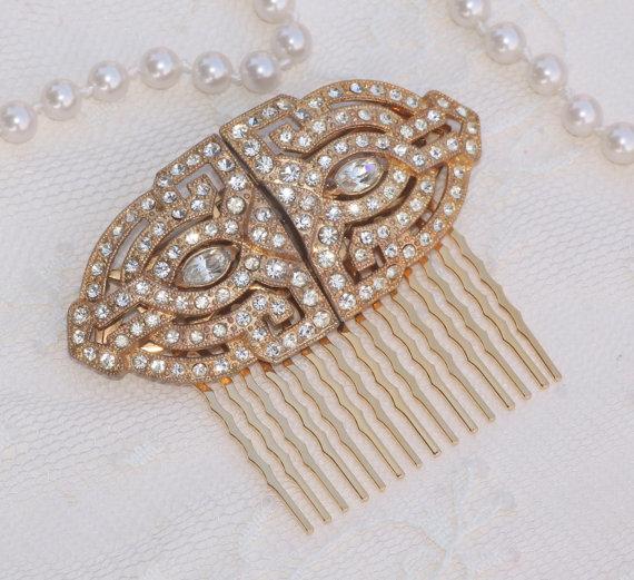 زفاف - Vintage CORO Duette Brooch or OOAK Bridal Hair Comb,Gold Pave Rhinestone Crystal Brooch,Something Old,Sash,Heirloom,Weddings,1920s Brooch