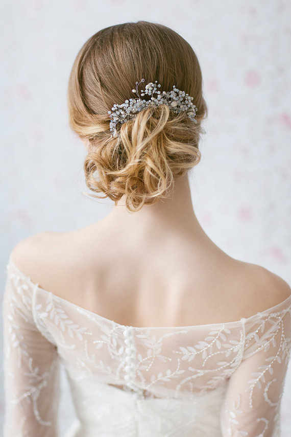 زفاف - Wedding Hair Piece ,Swarovski Opal Hair Comb ,Large Bridal Headpiece, Pearl Accented Haircomb, Crystal Sprays Hair Accessories