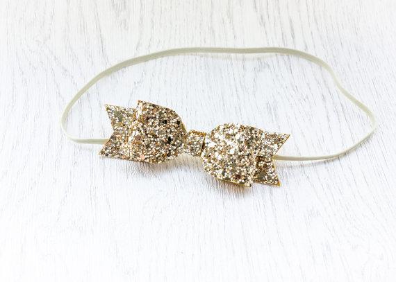 زفاف - Gold glitter headband - glittery hair bow - gold headpiece - womens headband - hair band - adult headband woman - hair accessories