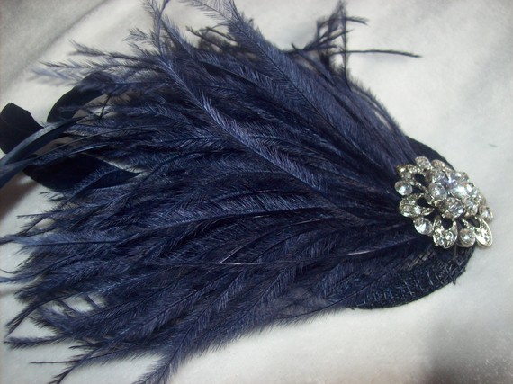 Bridal Hair Accessories Wedding New Handmade 1920s Inspired Navy Blue Feather Fascinator