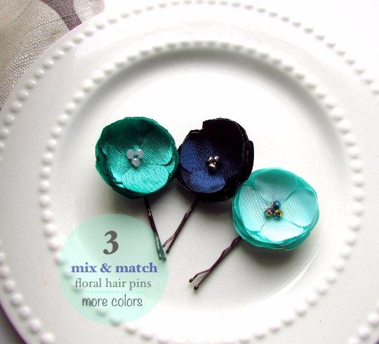 زفاف - 3 MIX & MATCH Floral Bobby Pins, Emerald, Mint and Navy Wedding Hair Pin Set, Silk Flower Hairpins, Small Satin Flower Hair Clips Bridesmaid