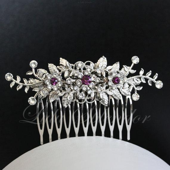 زفاف - Purple Wedding Hair Comb Vine Leaf Bridal Hair Clip Amethyst Crystal Wedding Hair Accessories GENOA DELUXE
