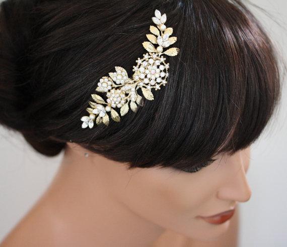 زفاف - Gold Wedding Hair Piece Bridal hair Comb Vintage leaves Wedding Hair Accessories Swarovski Rhinestone White Ivory Pearl IVY