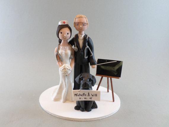 زفاف - Doctor & Nurse Custom Handmade Wedding Cake Topper