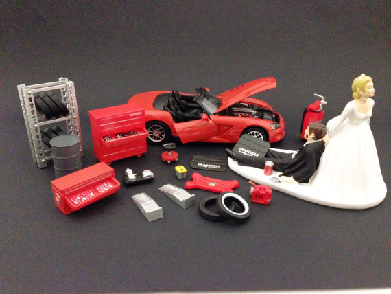 Mariage - Funny Auto Mechanic Car Loving Groom Being Dragged by Bride Wedding Cake Topper with Red 2003 Dodge Viper SRT-10