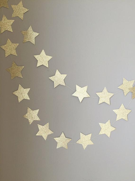 زفاف - Twinkle Twinkle Little Star Gold Glitter Star Garland, First Birthday, Baby Shower, Twinkle Twinkle Little Star Decor, Birthday Decor, Gold