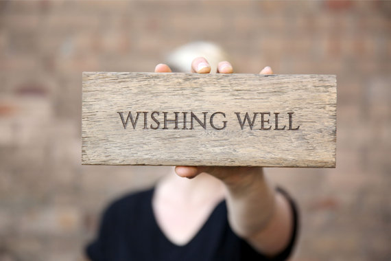 Mariage - Wishing Well Sign, Wedding Sign, Rustic Reclaimed Wood Sign