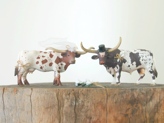Mariage - Country Cake Topper, Wedding, Long Horn Cattle Cows, Barn, Cowboy, Southwestern Rustic
