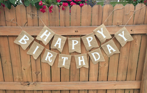 Mariage - Burlap 'Happy Birthday' Banner