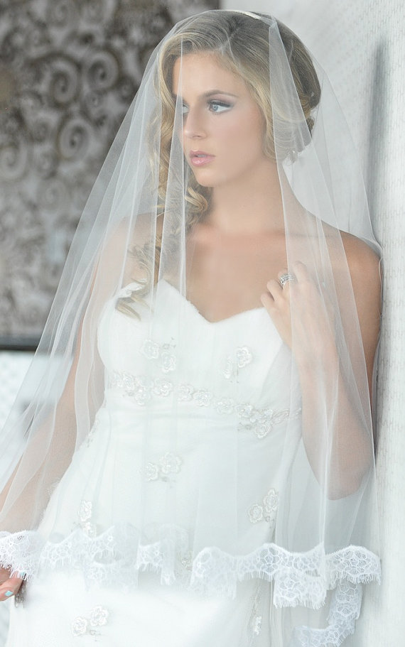 Wedding - Ready to Wear, Zinnia Drop Veil - Eyelash Lace Veil - Bridal Veil - Wedding Veil - Double Tier Veil - Folded Mantilla Veil