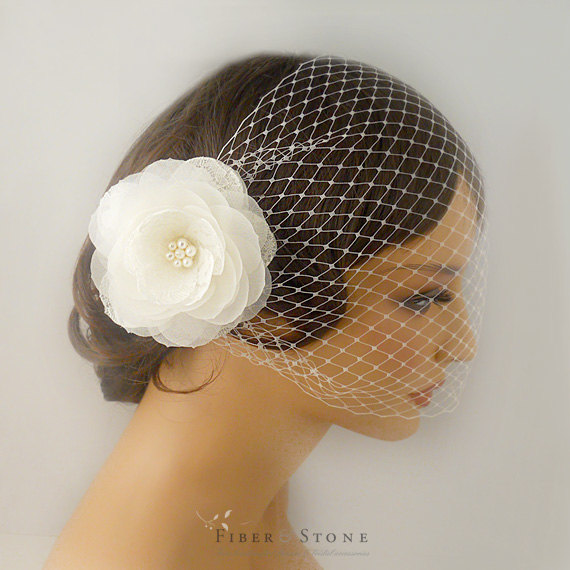 Wedding - Bandeau Birdcage Veil with Flower Bridal Hair Piece, Pure Silk Flower Wedding Veil, Floral Bridal Veil, Bridal Cage Veil with Lace Flower