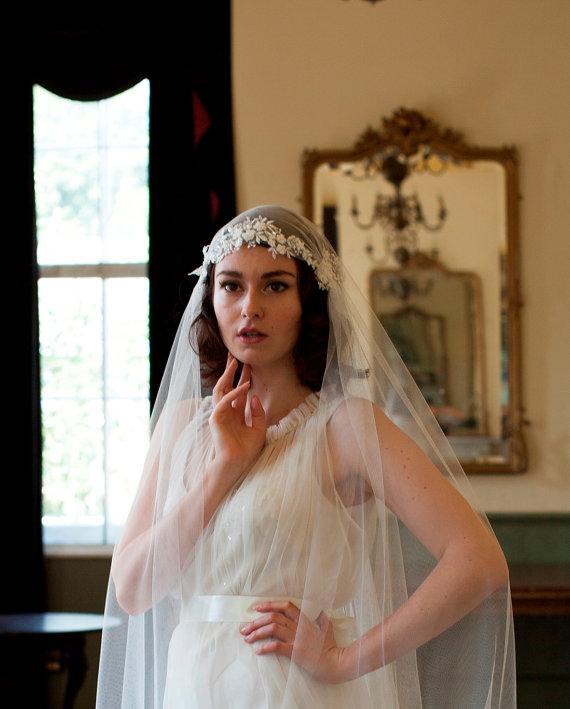 Hochzeit - Juliet Cap Veil with Beaded Floral lace, 1930s veil, cathedral length veil, chapel length veil, ivory, white, champagne veil