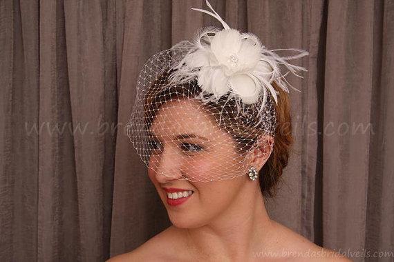 Mariage - Birdcage Veil Set, Swarovski Rhinestone Wedge Bridal Veil, Feather Flower Fascinator Hannah, Wedding Veil Set