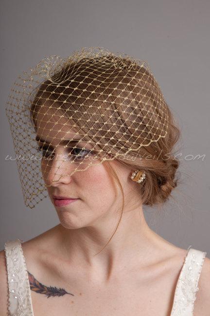 "Mariage - Silver or Gold Metallic 9"" Birdcage Veil, Bridal Veil, Wedding Veil"