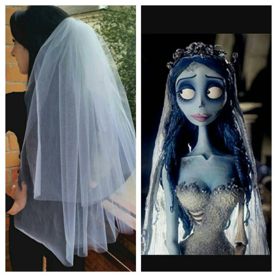 Mariage - Custom order. Halloween party costume idea. Dead bride Halloween costume. Halloween party 2-tier white long veil. Gothic bride costume.
