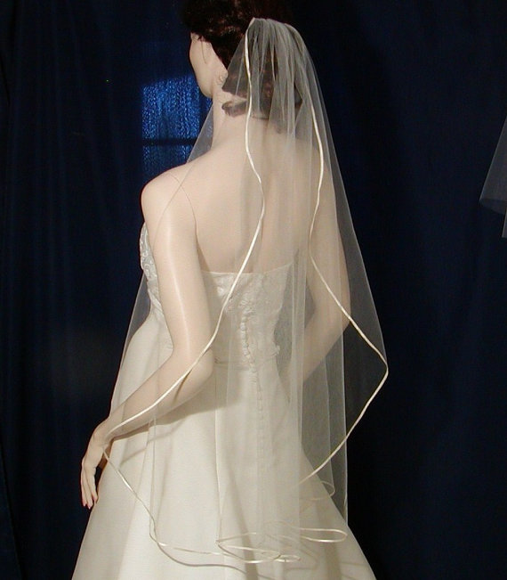 Mariage - Bridal veil Fingertip Cascading /Waterfall Style  trimmed with the tiniest of Satin Ribbon