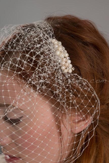 Mariage - Birdcage Veil with Bridal Pearl Hair Comb, Bridal Pearl Hair Piece, Wedding Veil, Birdcage Veil