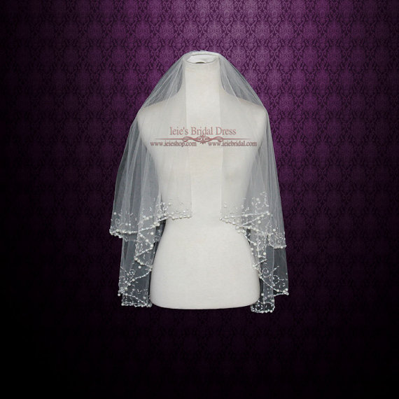 Mariage - Two Tier Ivory Fingertip Veil with Pearl Beadings