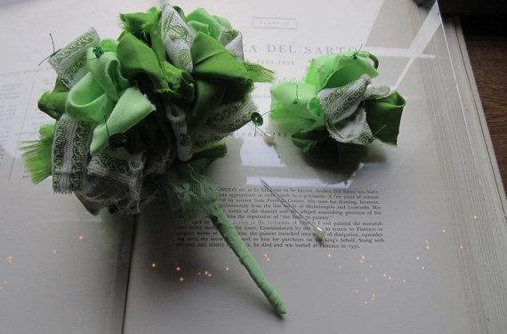 Mariage - Vintage Fabric Flower Bouquet  * Sailor Green