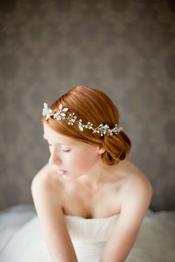 Wedding - Bridal Headband, Bridal Hair Vine, Wedding Headband, Crystal And Pearl Headband, Silver Beaded Bridal Headpiece- Breathless